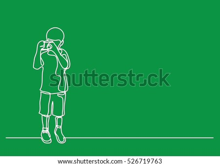 Line Drawing Boy : Continuous line drawing boy making photos stock vector
