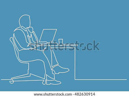 continuous line drawing of businessman thinking