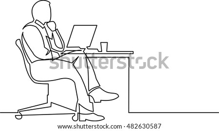 continuous line drawing of businessman thinking on white backrgound