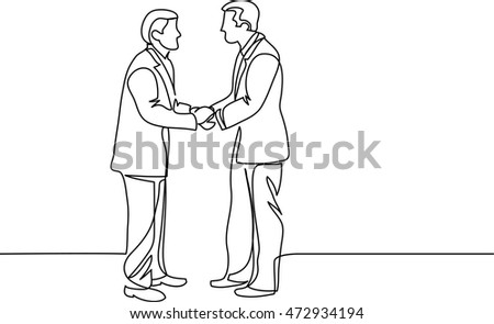 continuous line drawing of businessmen meeting handshake
