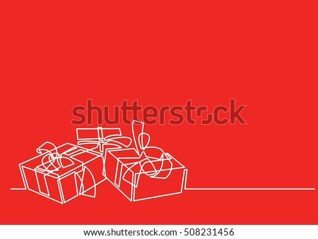 Line Drawing Xmas : Continuous line drawing christmas gifts stock vector