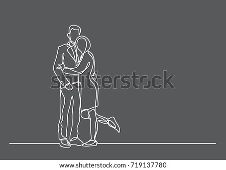 Contour Line Drawing Of A Person : Continuous line drawing couple standing hugging stock vector