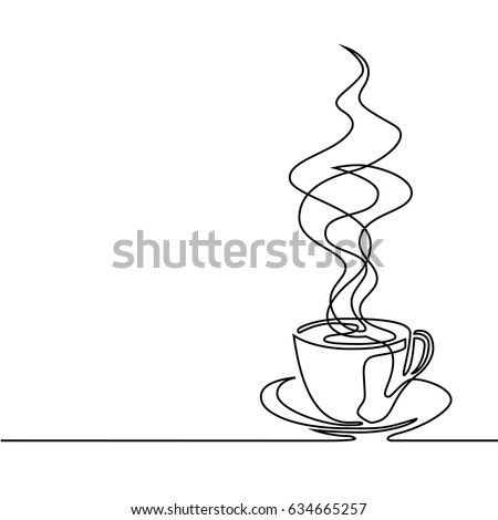 Continuous line drawing of cup of coffee. Vector illustration