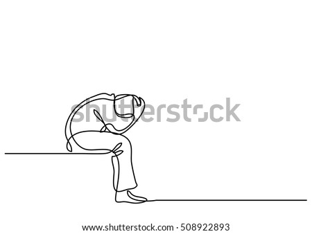 continuous line drawing of depressed man sitting