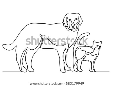 Continuous line drawing of dog and cat