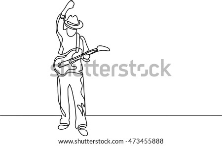 continuous line drawing of guitar player