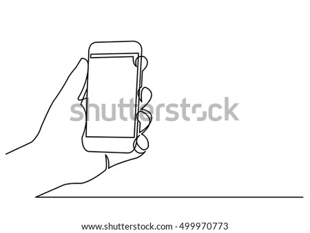 continuous line drawing of hand holding smartphone
