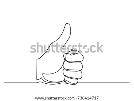 continuous line drawing of hand showing great sign