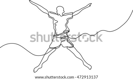 continuous line drawing of happy jumping guy