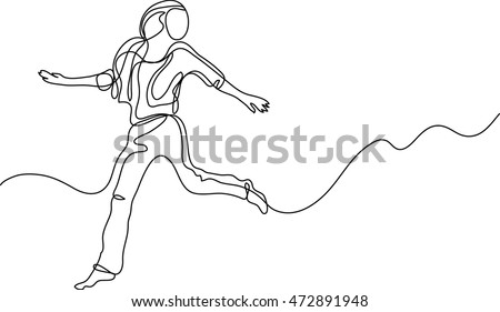 continuous line drawing of happy running woman