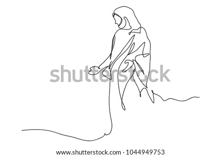 Superior Continuous Line Drawing Of Jesus Christ , Linear Style And Hand Drawn  Vector Illustrations
