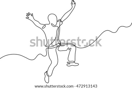 continuous line drawing of jumping happy man