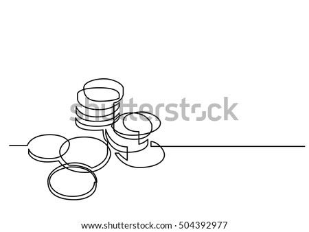 continuous line drawing of money coins