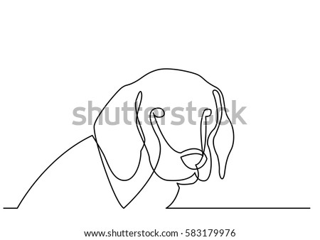 Continuous line drawing of portrait of dog