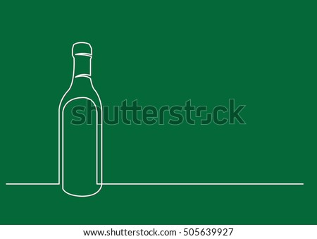 continuous line drawing of wine bottle
