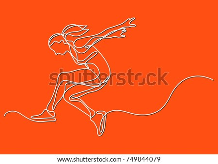 Contour Line Drawing People : Continuous line drawing woman athlete moving stock vector