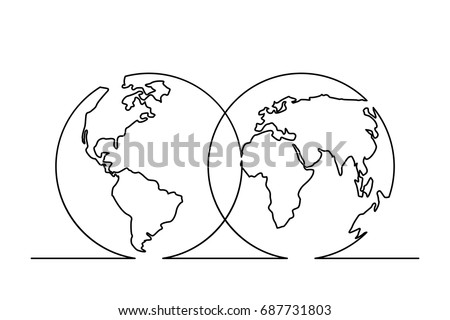 Continuous line drawing world map hemispheres vector de continuous line drawing of world map in hemispheres vector illustration gumiabroncs Choice Image