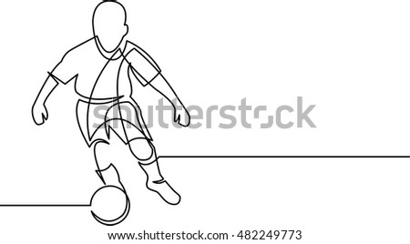 continuous line drawing of youth soccer player