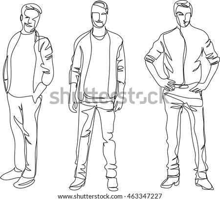continuous line drawing standing men