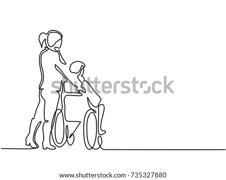 Continuous line drawing. Young woman push the old man on wheelchair. Vector illustration total editable, choose thickness and place of line