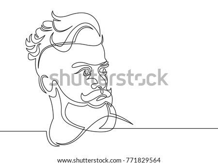 Continuous One Line Drawing Man Hipster Stock Vector - Hairstyle in drawing