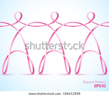 Continuous pink female ribbon figures holding hands - stock vector