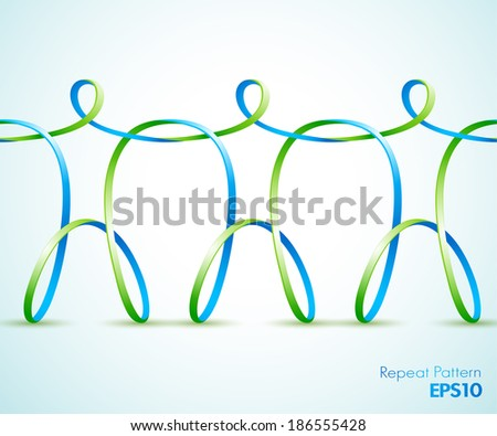 Continuous vector design of ribbon figures - stock vector