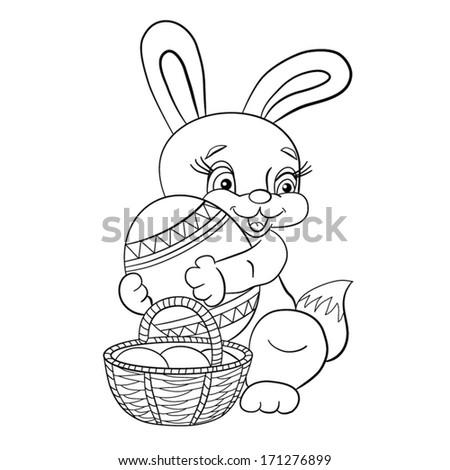 Contour Blackwhite Cartoon Merry Little Easter Stock