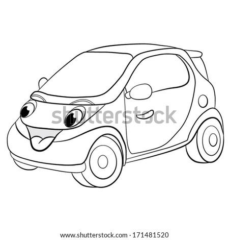 Contour Black White Cartoon Of Merry Mini Car Coloring Book