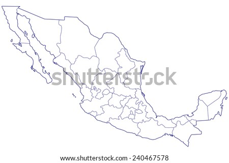 Contour border map of the Mexico. All objects are independent and fully editable