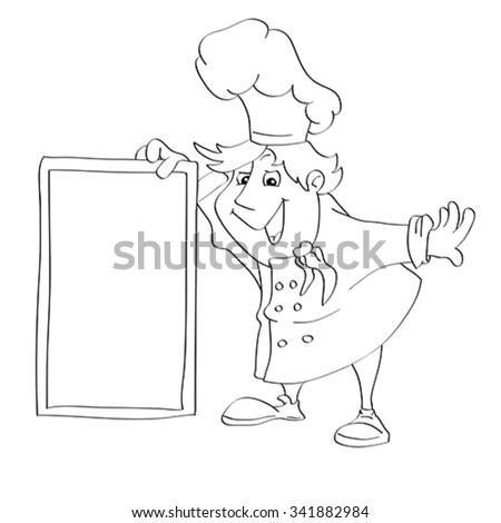 Contour for coloring of cartoon cook with menu sign for restaurant. Illustration, vector - stock vector