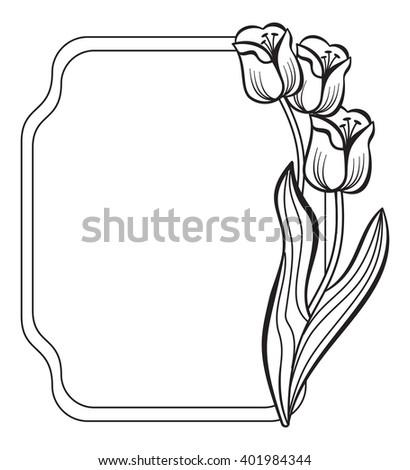 Contour frame with elegant tulips. Vector clip art. - stock vector