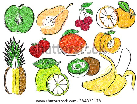 Contour fruits. Isolated vector illustration.