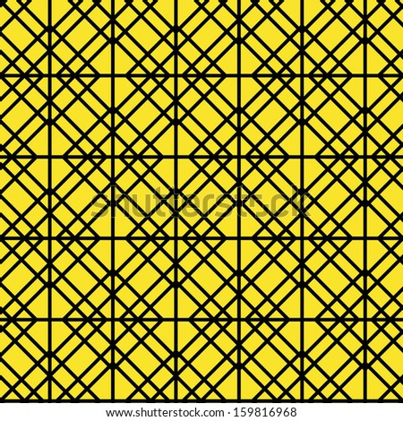 Contour Geometric Pattern on Yellow Background, vector - stock vector