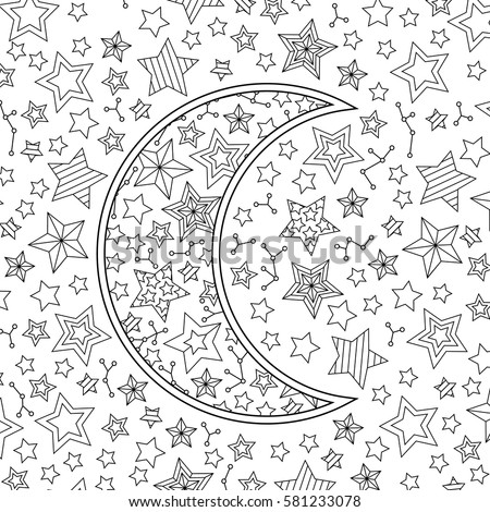 Counting sheep moon stars blank coloring stock vector for Zentangle per bambini