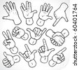 Contour hands vector collection-accuracy sketching of hand gestures-color version at my gallery - stock photo