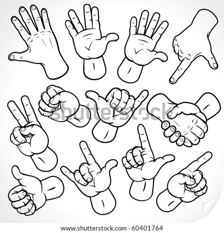 Contour hands vector collection-accuracy sketching of hand gestures-color version at my gallery - stock vector