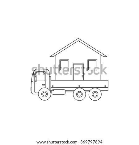 contour icon vehicle transports the house - stock vector