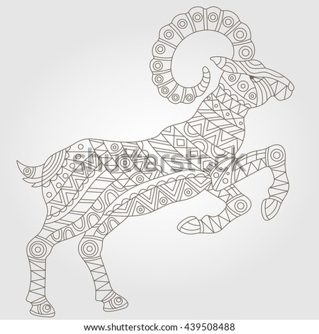 Contour illustration with abstract ram, dark outline on a light background