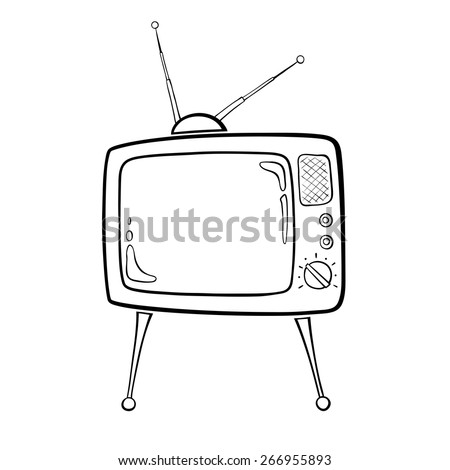 Contour image of the TV set in retro style