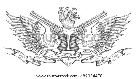 Contour image of two revolvers, ribbon, wings, diamond and human heart. Vector illustration for tattoos, printing on T-shirts and other items.