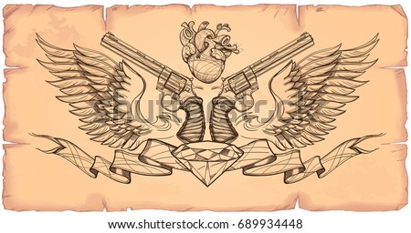 Contour image of two revolvers, ribbon, wings, diamond and human heart. Vector illustration on the background of old paper.