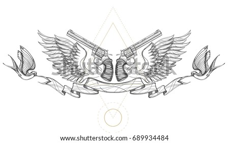 Contour image of two revolvers, wings, ribbon and swallows. Vector illustration for tattoos, printing on T-shirts and other items.