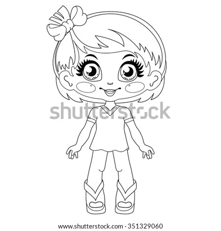 Contour kawaii doll: coloring page on white background - stock vector