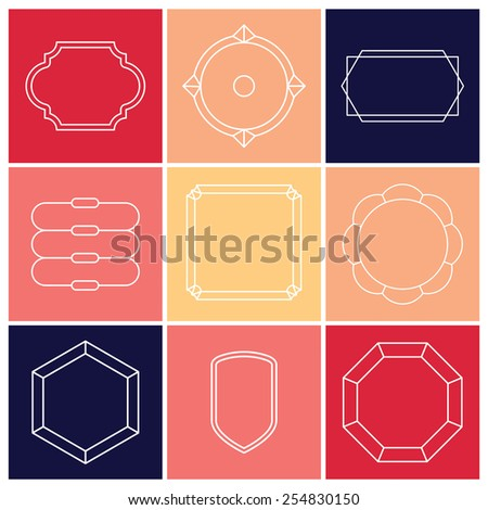 Contour label minimalist. Includes 9 elements. - stock vector