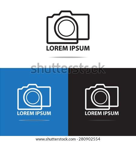 Contour line digital camera logo design. (Set of Camera logo design) - stock vector