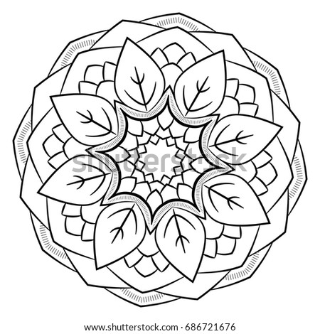 Contour Mandala Color Book Monochrome Image Vector de stock686721676 ...