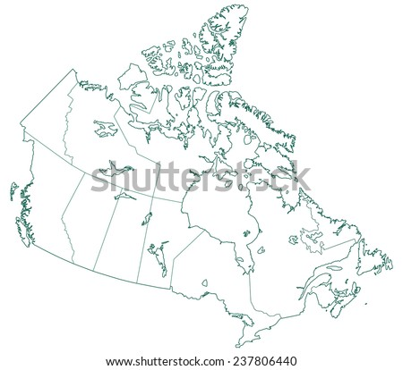 Contour map of the Canada. All objects are independent and fully editable  - stock vector
