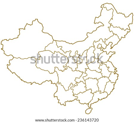 Contour map of the China. All objects are independent and fully editable  - stock vector