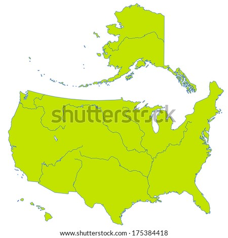 Contour map of the United States with major rivers and lakes. All objects are independent and fully editable  - stock vector